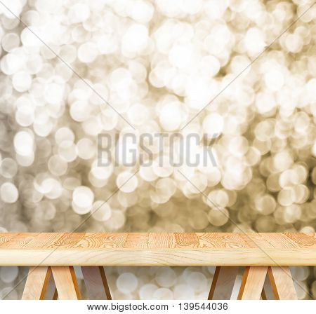 Empty Perspective Wooden Table With Sparkling Bokeh Wall ,template Mock Up For Display Of Your Produ
