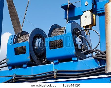Details of industrial marine cable drums great industrial construction background image