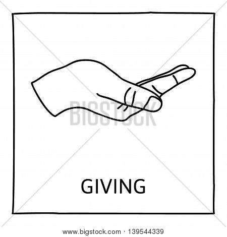 Doodle GIVE icon. Hand drawn gesture symbol. Line art style graphic design element. Giving, sharing, charity, reaching out for help concept. Vector illustration