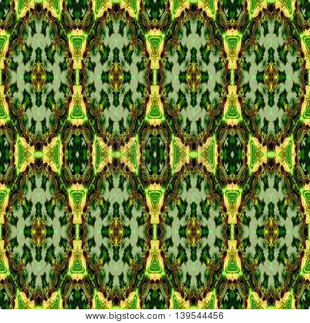 Abstract decorative multicolor (green, gold) texture - kaleidoscope pattern