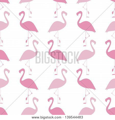 Flamingo Seamless Pattern. Silhouette. Pink. Illustration For Your Design.