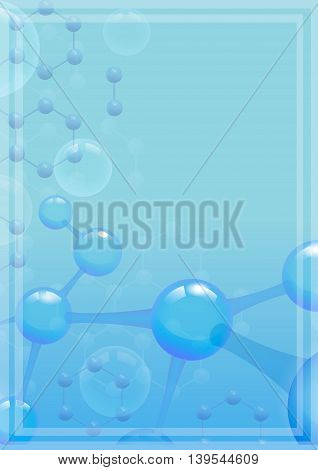 Abstract molecular background with blue molecule for Scientific report. Microscopic atomic element, illustration