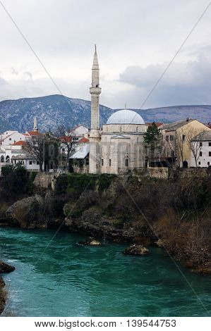 View of the mosque Koski Mehmed Pasha in Mostar, Bosnia and Herzegovina