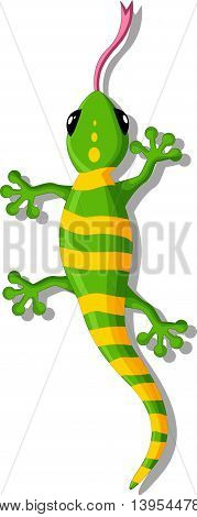 green gecko cartoon posing for you design