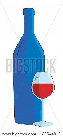 Wine bottle and wine glass on white background. Vector illustration