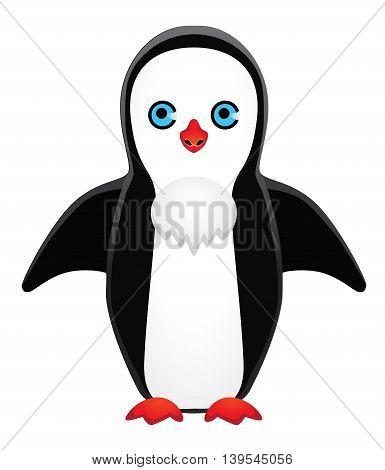 Design symmetrically drawn penguin. eps10 vector illustration