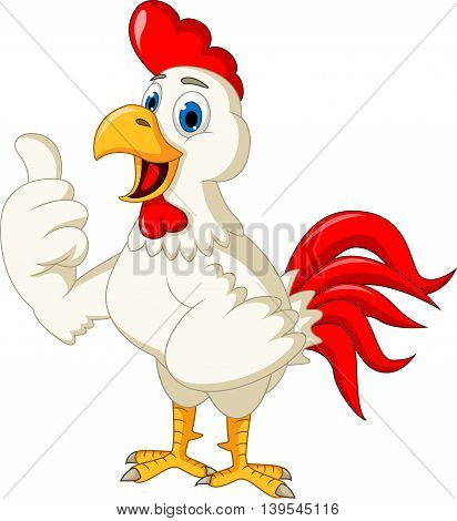 Happy cartoon rooster pointing for you design