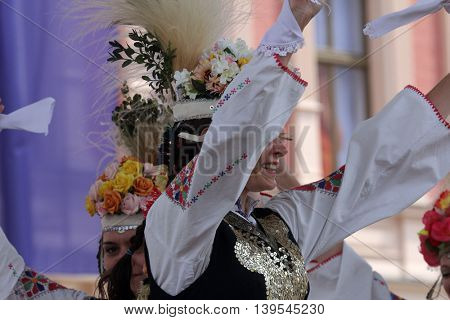 ZAGREB, CROATIA - JULY 22: Members of folk group Bistrica from Bistrica, Bulgaria during the 50th International Folklore Festival in center of Zagreb, Croatia on July 22, 2016