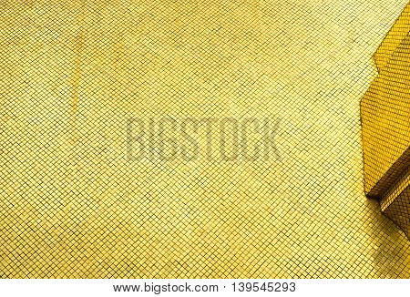 Looking Up At Glossy Gold Mosaic Tile Wall Structure, Texture Background