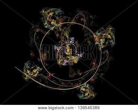 3D rendering colorful fractal abstract in black background.