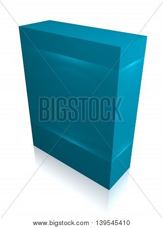 Blue Paper box for IT equipment, soft, product, delievery on white background isolated