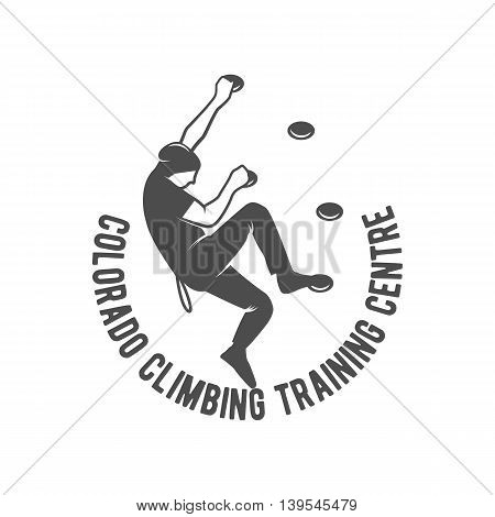 Mountain climbing vintage logo, emblem, silhouette and design elements. logotype template and badge with climber. Camping badge travel logo emblem.