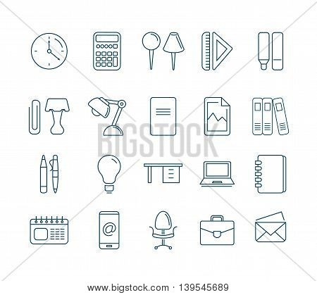 vector Conceptual icons set with stationery elements isolate on white background. Illustrtations in mono line stile