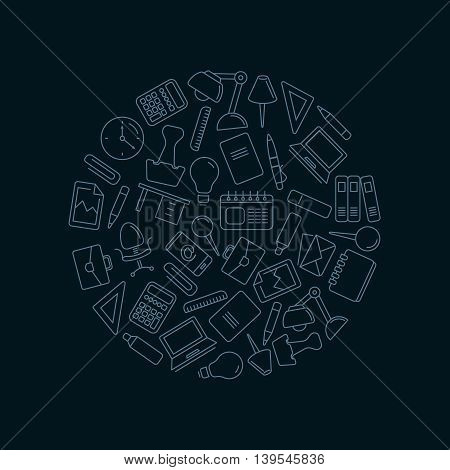 vector icons set with stationery elements in circle shape form. Illustrtations in linear stile isolate on dark background