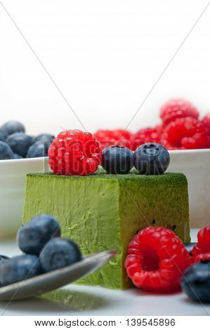 Green Tea Matcha Mousse Cake With Berries