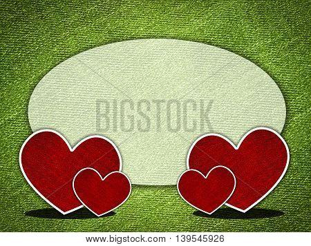 art red heart on grunge green illustration background