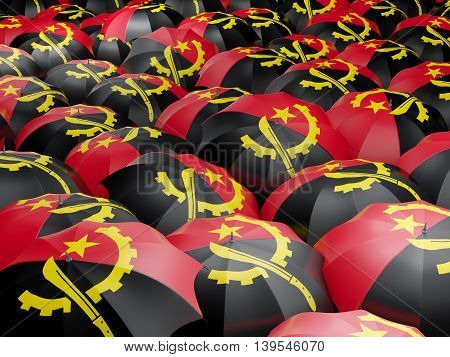Umbrellas With Flag Of Angola