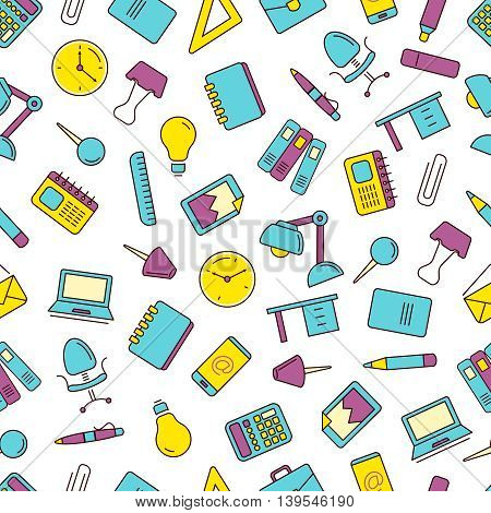 vector seamless pattern with Conceptual icons set with stationery elements isolate on white background. Illustrtations in linear stile
