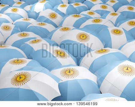 Umbrellas With Flag Of Argentina