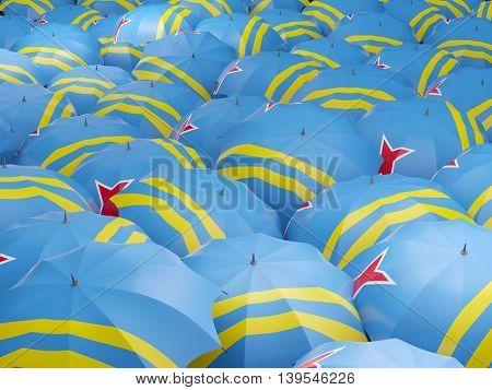 Umbrellas With Flag Of Aruba