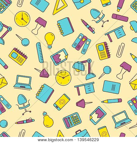 vector seamless pattern with Conceptual icons set with stationery elements isolate on light background. Illustrtations in linear stile