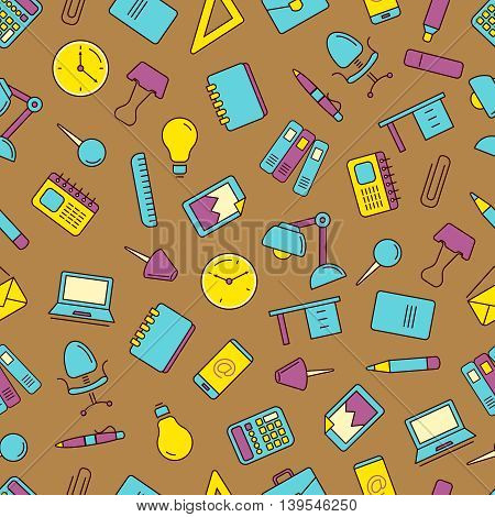vector seamless pattern with Conceptual icons set with stationery elements isolate on dark background. Illustrtations in linear stile