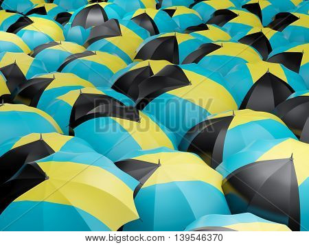 Umbrellas With Flag Of Bahamas