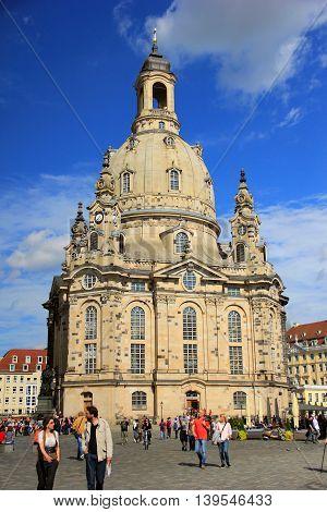 SEPTEMBER, 2015., DRESDEN, GERMANY - The Dresden Frauenkirche church