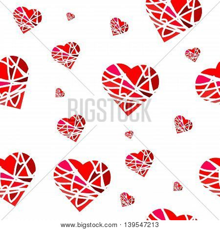 Seamless pattern with abstract red hearts in ethnic style for gift paper on holiday or other
