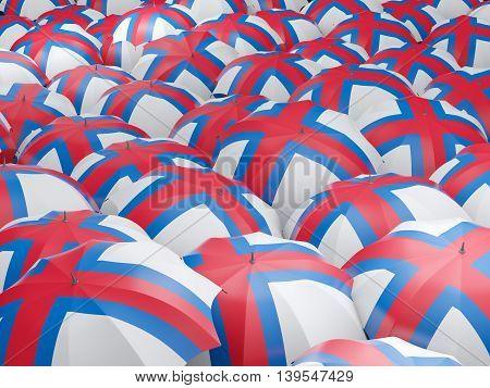 Umbrellas With Flag Of Faroe Islands