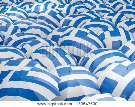 Umbrellas With Flag Of Greece