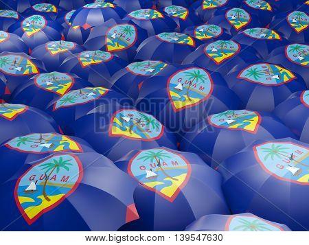 Umbrellas With Flag Of Guam