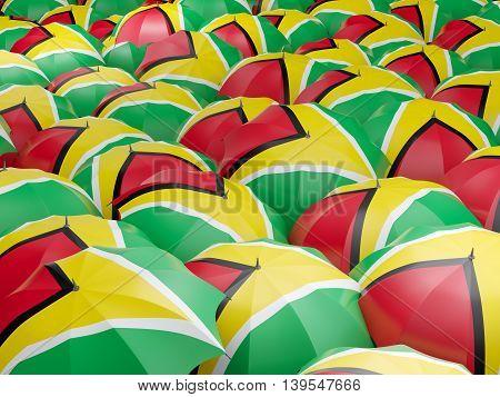 Umbrellas With Flag Of Guyana