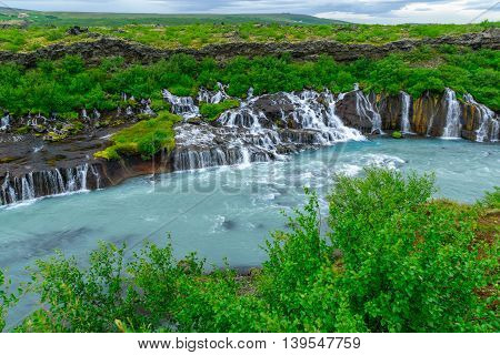 The Hraunfossar Waterfall