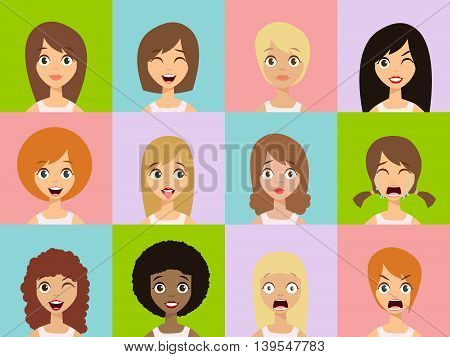Girls Emotion Icons. Woman Emotions Expression Icons.