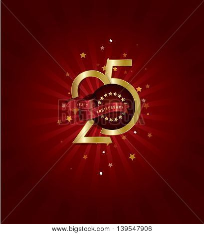 25th Years Anniversary Template with Abstract Background in  Stars, Golden Text and Ribbon