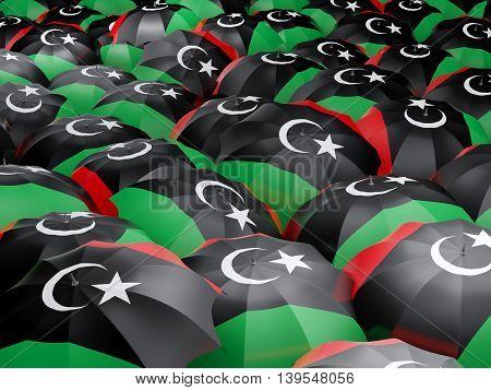 Umbrellas With Flag Of Libya