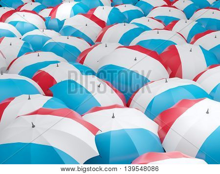 Umbrellas With Flag Of Luxembourg