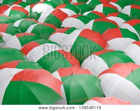 Umbrellas With Flag Of Madagascar