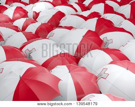 Umbrellas With Flag Of Malta