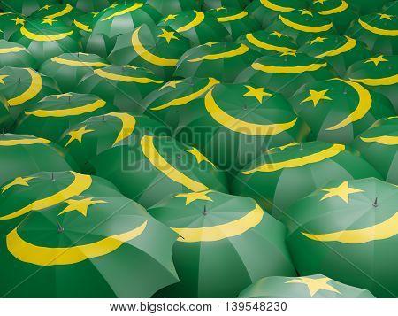 Umbrellas With Flag Of Mauritania
