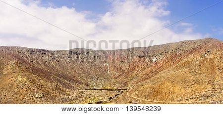 Scenic view in the deep crater of a volcano on the Island of Fuerteventura, Canary Islands