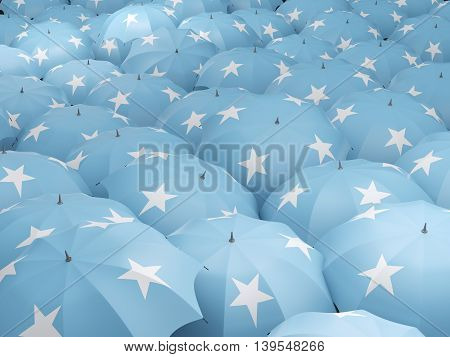 Umbrellas With Flag Of Micronesia