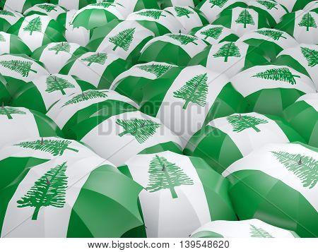 Umbrellas With Flag Of Norfolk Island