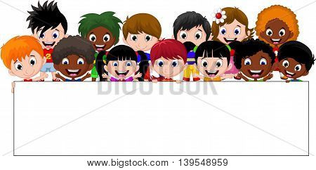 Cartoon kids holding a sign for you design