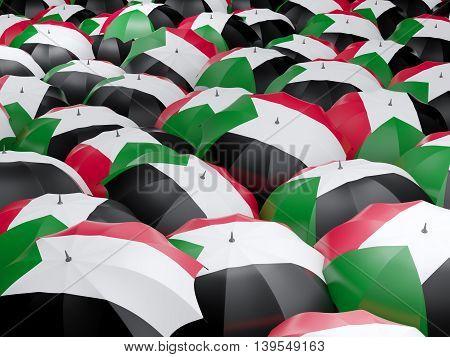 Umbrellas With Flag Of Sudan