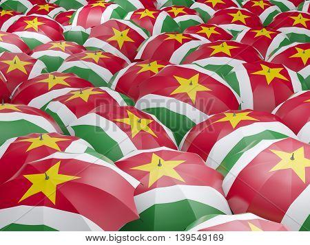 Umbrellas With Flag Of Suriname