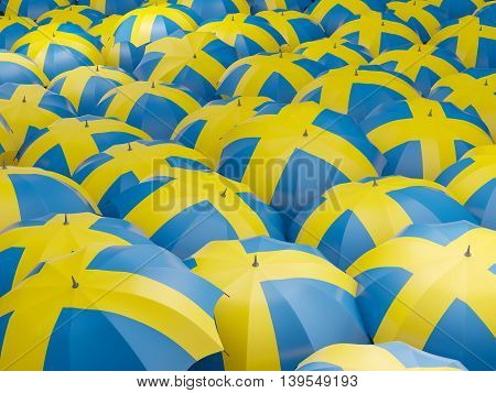 Umbrellas With Flag Of Sweden