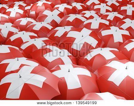 Umbrellas With Flag Of Switzerland