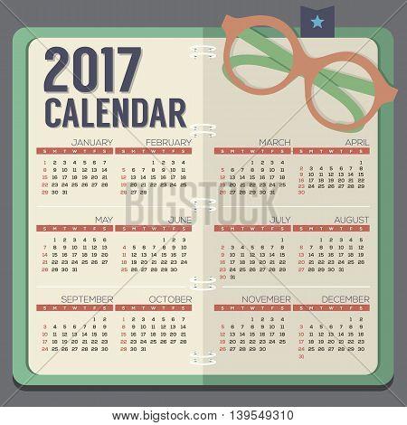 Flat Design Eyeglasses On Notebook 2017 Printable Calendar Starts Sunday Vector Illustration. EPS 10